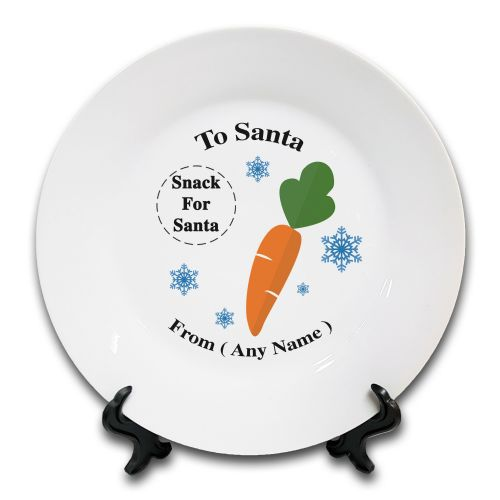 "8"" Personalised (Any Text) christmas To Santa Snack Novelty Ceramic  Plate & Stand"